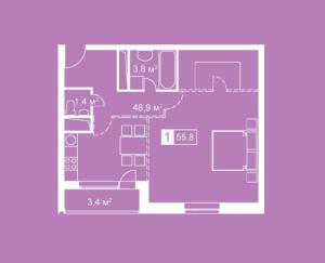 Планировка однокомнатной квартиры в Атмосфера